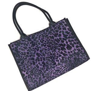 NEIMAN MARCUS Purple Leopard Print vinyl tote